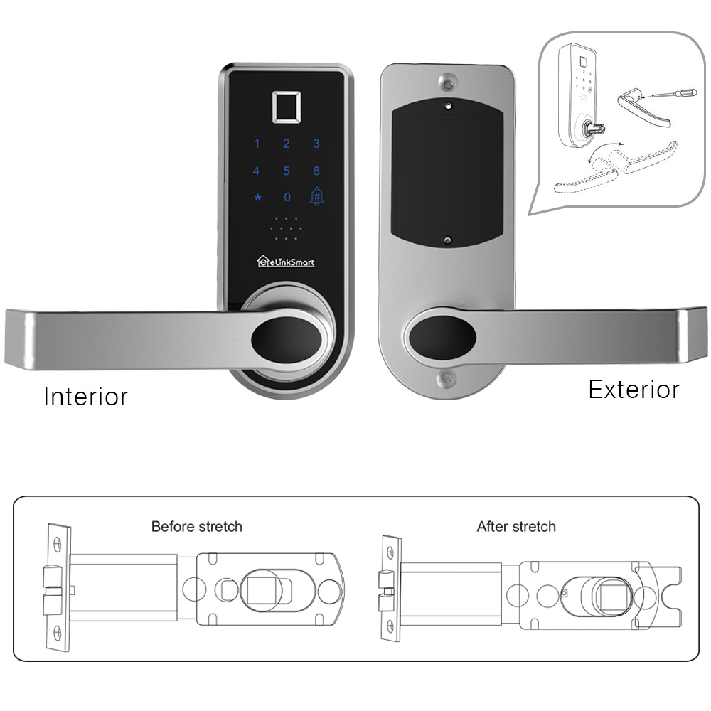 Digital Door Lock eLinkSmart Auto Smart Lock Handleless Fingerprint//IC Card//Touch Screen Keypad//Keys USB Emergency Power Port for Home//Airbnb Hotel